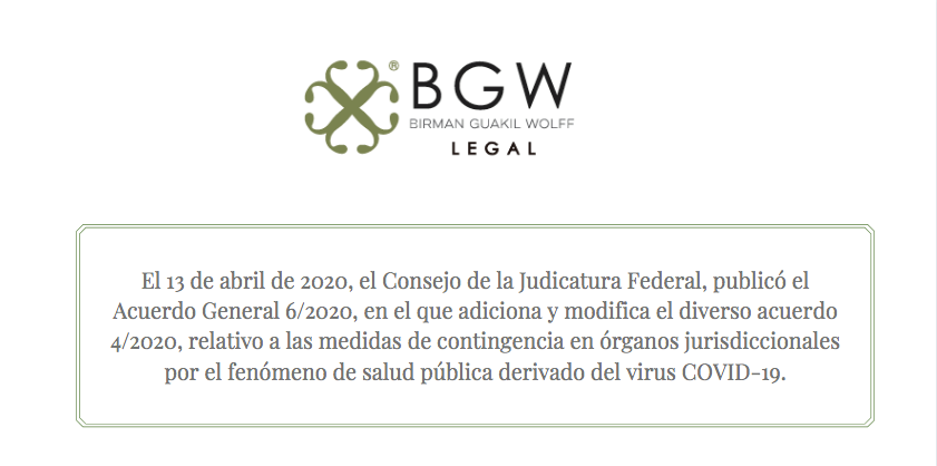 El Consejo de la Judicatura Federal, publicó en su sitio web el Acuerdo General 6/2020.
